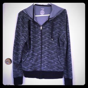 Zip-up hoodie in grey multi-tone & black trim